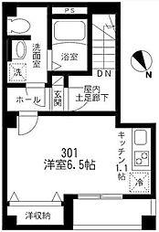 東京メトロ日比谷線 八丁堀駅 徒歩3分の賃貸マンション 3階ワンルームの間取り