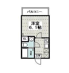 仮)レイディアンス公田 3階1Kの間取り