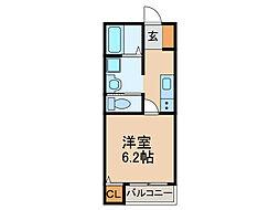 西鉄太宰府線 西鉄五条駅 徒歩15分の賃貸アパート 2階1Kの間取り