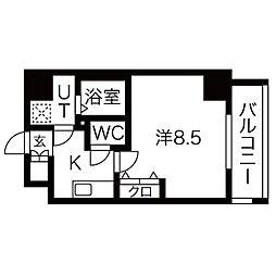 名古屋市営桜通線 高岳駅 徒歩6分の賃貸マンション 8階1Kの間取り