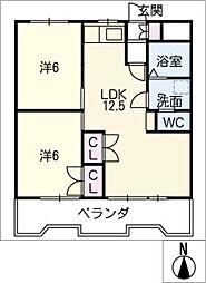 リバーサイドK[2階]の間取り