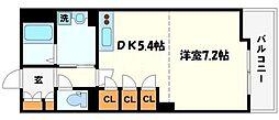 レジデンス桃山台 4階1DKの間取り