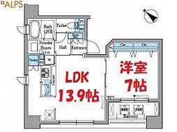 JR京浜東北・根岸線 桜木町駅 徒歩8分の賃貸マンション 15階1LDKの間取り