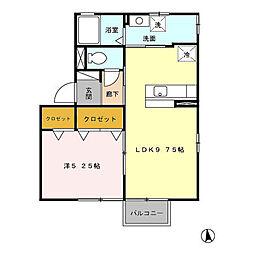 モアコート禅 B[2階]の間取り
