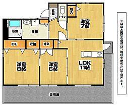 福岡県北九州市小倉南区若園1丁目の賃貸アパートの間取り