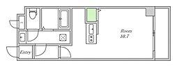 JR大阪環状線 野田駅 徒歩8分の賃貸マンション 2階ワンルームの間取り
