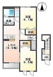 香川県丸亀市金倉町の賃貸アパートの間取り