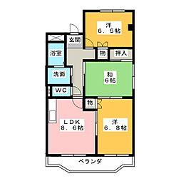 愛知県名古屋市緑区大清水2丁目の賃貸マンションの間取り