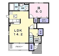 福岡県北九州市八幡西区春日台3丁目の賃貸アパートの間取り