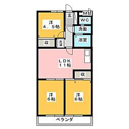 愛知県名古屋市中川区西中島1丁目の賃貸マンションの間取り