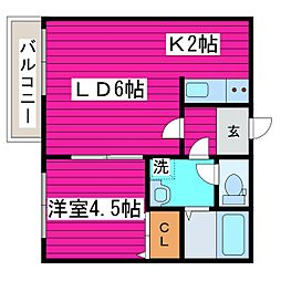 北海道石狩郡当別町白樺町の賃貸アパートの間取り