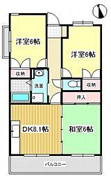 オーヂ八幡東[2階]の間取り