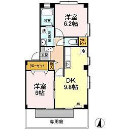 広島県福山市神辺町字十三軒屋の賃貸アパートの間取り