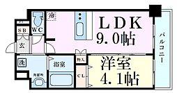 京阪本線 天満橋駅 徒歩5分の賃貸マンション 3階1LDKの間取り