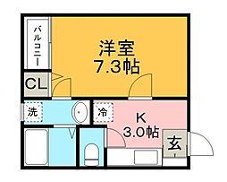 JR鹿児島本線 久留米駅 徒歩5分の賃貸アパート 2階1Kの間取り