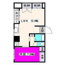 東京都東大和市中央3丁目の賃貸マンションの間取り