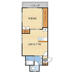 (仮)T様共同住宅(203) 2階1LDKの間取り