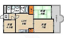 クレアコート 4階3LDKの間取り