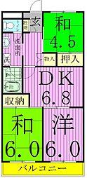 千葉県松戸市二十世紀が丘梨元町の賃貸マンションの間取り