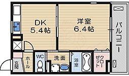京阪本線 石清水八幡宮駅 徒歩29分の賃貸アパート 1階1DKの間取り