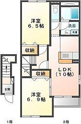 埼玉県川越市的場の賃貸アパートの間取り