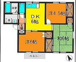 神奈川県高座郡寒川町岡田2丁目の賃貸アパートの間取り