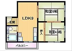 Osaka Metro谷町線 都島駅 徒歩10分の賃貸マンション 4階2LDKの間取り