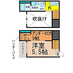 愛知県名古屋市南区大同町1丁目の賃貸アパートの間取り