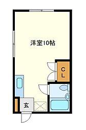 JR播但線 京口駅 徒歩6分の賃貸マンション 3階ワンルームの間取り