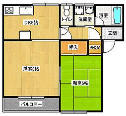 恵コ―ポ 2階2DKの間取り