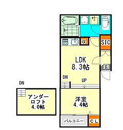 愛知県名古屋市西区坂井戸町の賃貸アパートの間取り