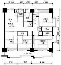 南港わかぎの42号棟[4階]の間取り