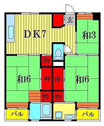 ビレッジハウス江戸川台2号棟[4階]の間取り
