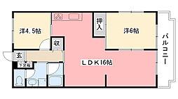 ロイヤルハイツ松井[302号室]の間取り