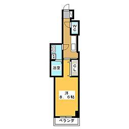岐阜県各務原市鵜沼三ツ池町2の賃貸アパートの間取り