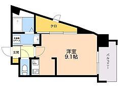ALFACIO DIFOND 10階ワンルームの間取り