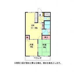 愛知県小牧市堀の内2丁目の賃貸マンションの間取り