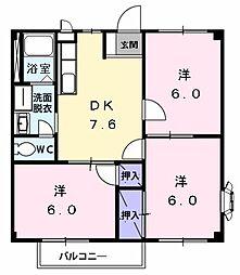 愛知県名古屋市中川区江松1の賃貸アパートの間取り