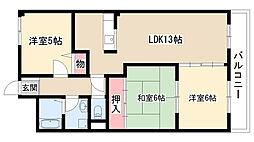 愛知県名古屋市天白区植田東1丁目の賃貸マンションの間取り