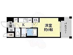 JR大阪環状線 今宮駅 徒歩6分の賃貸マンション 3階1Kの間取り