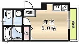 ロフティ伏見稲荷駅前 1階ワンルームの間取り