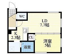 札幌市電2系統 中央区役所前駅 徒歩6分の賃貸マンション 4階1LDKの間取り