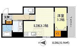 アンフィニ15江坂レジデンス 7階1LDKの間取り