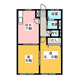 フォンターナI・II[1階]の間取り
