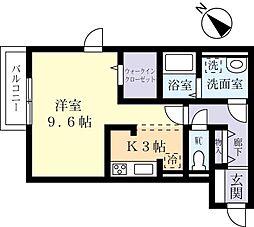 つくばエクスプレス つくば駅 バス17分 さくらの森下車 徒歩5分の賃貸アパート 1階1Kの間取り