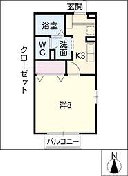 パビヨン春田野 A棟[1階]の間取り