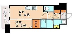 アルファシオリエンソ 9階1DKの間取り