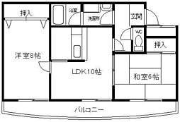 大阪府堺市西区鳳中町7丁の賃貸マンションの間取り