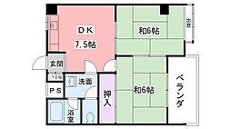 コスモパレス甲東園[203号室]の間取り