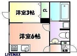JR仙山線 国見駅 徒歩2分の賃貸アパート 1階1Kの間取り